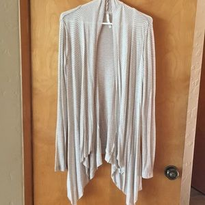 Light brown/cream and white striped cardigan